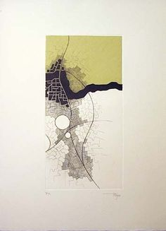 Cristina Mayo Corrochano -- base off Zoet and use LR colors Architecture Graphics, Architecture Drawings, Abstract Landscape, Abstract Art, Map Quilt, Map Projects, Map Design, Mark Making, Map Art
