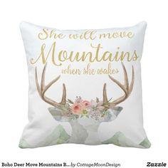 Boho Deer Move Mountains Baby Girl Nursery Pillow