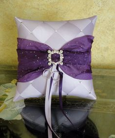 Wedding Ring Bearer Pillow,Lavender and Purple or Custom Made to your colors with Swarovski Crystals