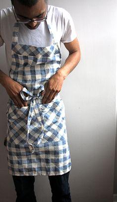 Mens apron, blue checkered, large apron, grilling apron, chefs apron.