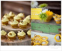 Honey themed model wedding with bee and honeycomb cupcakes