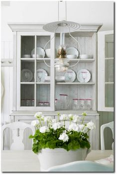 Hutch, Cupboard, Cabinet painted in a simple Gustavian - Swedish finish. by Custom Reproduction Gustavian Furniture