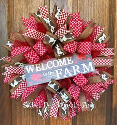 Welcome to the Farm Deco mesh wreath, rustic farmhouse mesh wreath This adorable farmhouse style is ready to compliment your rustic decor!