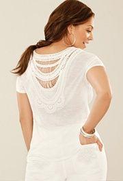Plus Size Crochet Back Tunic Top image