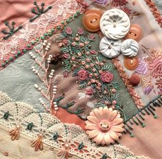 Crazy quilting, beading & embroidery . . . I dropped the button box crazy quilt block ~By Sharon B