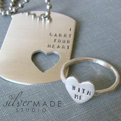I Carry Your Heart dog tag and sterling von SilverMadeStudio