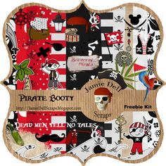 """I designed the invitation and cupcake toppers using elements from Scrapbook Freebie Kit """"Pirate Booty"""" from Jamie Dell Scraps"""