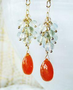 Carnelian AA briolette and fluorite earrings by oneoffcreations, $30.00