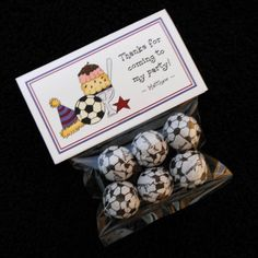 Personalized Birthday Party Favor Bag Toppers, soccer 1, set of 10, includes bags. $5.00, via Etsy.