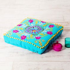 Suzani Embroidered Suzani Square Floor Cushion - Turquoise and Pink