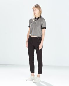 e28f04b56e1 ZARA - SALE - TROUSERS WITH FAUX LEATHER PIPING