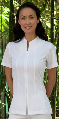 """Ladies Victoria Skin Care Tunic -Made from Ultra-Lightweight-Comfort Stretch """"Essencia"""" fabric-You will Feel the Difference-and Thrive On The Feeling of Looking Great-and Performing Your Best in Our Uniforms. Spa Uniform, Uniform Shirts, Scrubs Uniform, Medical Uniforms, Work Uniforms, Nursing Clothes, Nursing Dress, Scrubs Pattern, Stylish Scrubs"""