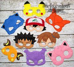 Pokemon Mask SET OF NINE - Felt Dress Up Masks - Ash Ketchum, Brock, Misty, Charizard, Blastoise, Mewtwo, Pikachu, Raichu, Jigglypuff by ArielsCustomDesigns on Etsy