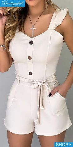 Frill Sleeve Sweetheart Neck Tied Romper in 2020 Rompers For Teens, Rompers Women, Jumpsuits For Women, Classy Outfits, Pretty Outfits, Cute Outfits, Girl Fashion, Fashion Dresses, Fashion Sets