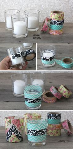 Decorated candle holder with printed tape or ribbon. This would be so easy to do with something plain from the dollar store, and just decorate it. Super easy and cheap! #crafts , DIY , printed, design, candle, vase, project, simple, easy, gifts