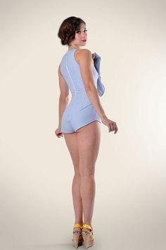 Striped Short jumpsuit Bow Jumpsuit Vintage by LeMoutonBleuShop
