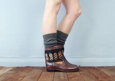 Avalonia leather Kiboots - brown leather Navajo ethnic tribal aztec carpet kilim boots size UK 8 US 8 / 8.5 EU 41