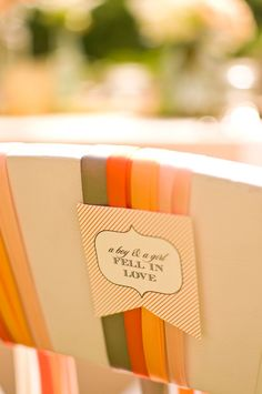 Chair decor inspired by the beautiful colors of fall! {Jennifer Baumann Photography}