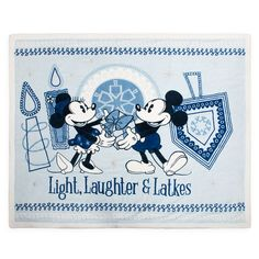 Mickey and Minnie Mouse Chanukah Fleece Throw - Official shopDisney® Minnie Bow, Mickey Minnie Mouse, Vintage Mickey Mouse, Mickey Mouse And Friends, Disney World Theme Parks, Disney Parks, Disney Visa, Resort Logo, Large Blankets