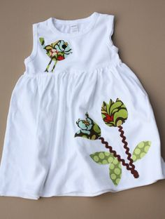 Girls Dress - Applique Dress for Baby, Toddler, and Girls- You Choose Dress Color and Sleeve Length.