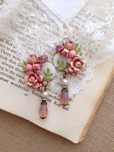 Vintage repurposed jewelry earrings peachy pink roses