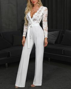 Long Rompers Womens Jumpsuit Lace Long Sleeve Sexy Deep V-neck Jumpsuit With Belt Overalls For Ladies Ropa Mujer 2020 Spring New Long Jumpsuits, Jumpsuits For Women, Fashion Jumpsuits, Pantsuits For Women, Jumpsuits For Weddings, Elegante Jumpsuits, Trend Fashion, Womens Fashion, Fashion Top