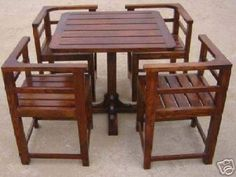 "HANDCRAFTED WOODEN DINING TABLE SET""SPACE SAVING"" : Furniture ..."