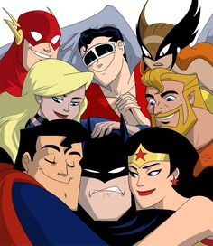 Super Friends: The Flash, Plastic Man, Hawkgirl, Black Canary, Aquaman, Superman, Batman, & Wonder Woman. The look on Superman and Batman's faces puts this over the top.