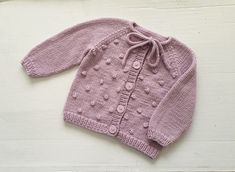 Hand knitted baby girl bobble cardigan, merino wool baby sweater 6 months, lilac pink popcorn stitch sweater, handmade woollen baby knits