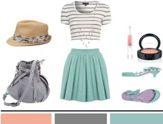 Stripes + Floral + Mint. Top Shop Strip Crop Tee ($20.00), Pleated Skirt ($55.00), Mint Rhinestone Necklace from Forever21 ($6.80), Floral Fedora from Maurices ($13.00), Pauric Sweeney Bucket Bag ($1,072.00), Melissa + Alexandre Herchcovitch Heeled Sandals ($55.00), Stila Lip Glaze in Kaleidoscope ($22.00), MAC blush in Gingerly ($20.00).