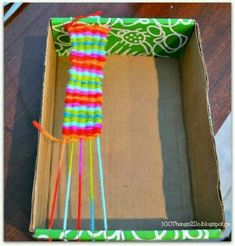 DIY Ideas With Shoe Boxes - Makeshift Looms - Shoe Box Crafts and Organizers for Storage - How To Make A Shelf, Makeup Organizer, Kids Room Decoration, Storage Ideas Projects - Cheap Home Decor DIY Ideas for Kids, Adults and Teens Rooms Crafts For Teens, Diy For Kids, Diy And Crafts, Arts And Crafts, Kids Crafts, Weaving Loom For Kids, Loom Weaving, Straw Weaving, Weaving Projects