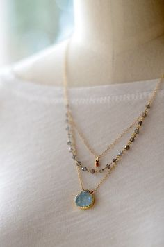 Featuring that cool and relaxed Aqua tone. By KahiliCreations on Etsy: Aqua druzy layered necklace labradorite - Picmia