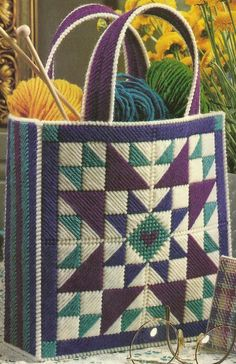 Discover thousands of images about images of plastic canvas tote bag patterns Bargello Patterns, Bargello Needlepoint, Needlepoint Stitches, Crochet Patterns, Plastic Canvas Stitches, Plastic Canvas Patterns, Plastic Canvas Christmas, Plastic Canvas Crafts, Canvas Purse