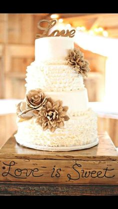 "Country Wedding Cakes Such a beautiful cake! - Beautiful handmade, wood ""love"" cake topper Great for rustic wedding cakes, decor and more! Measures from approximately from end to end Larger quantities available! Contact me for a custom color! Love Cake Topper, Chic Bridal Showers, Rustic Cake Toppers, Country Cake Toppers, Country Cupcakes, Wedding Cake Rustic, Wedding Country, Wedding Vintage, Shabby Chic Wedding Cakes"