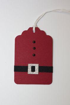 Set of 10 Santa Suit Gift Tag Christmas Tag Holiday Diy Christmas Tags, Christmas Gift Wrapping, Handmade Christmas, Christmas Presents, Christmas Holidays, Christmas Ideas, Diy Cadeau Noel, Handmade Gift Tags, Diy Gift Tags