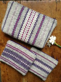Wool pouches: handwoven and handmade in Wales Tapestry Weaving, Loom Weaving, Hand Weaving, Jute, Cosmetic Bag, Mother Day Gifts, Pouch, Stripes, Handbags