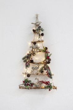 Wall Christmas Tree Could also be used to display a nativity scene Twig Christmas Tree, Christmas Nativity, Rustic Christmas, Simple Christmas, Christmas Crafts, Christmas Ornaments, Yule Crafts, Easy Christmas Decorations, Alternative Christmas Tree