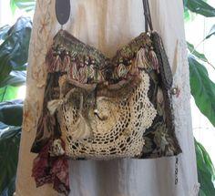 Bohemian Gypsy Carpet Bag,  Tapestry Bag with Unique Earth Tones, Hippie Bag, Victorian, Renaissance Purse