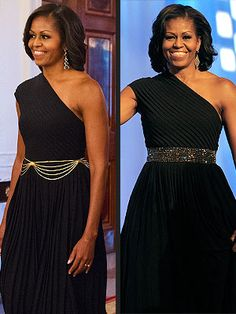 One @Michael Dussert Kors gown, two ways! We bet Kate Middleton would be proud. http://stylenews.peoplestylewatch.com/2012/09/24/michelle-obama-style-michael-kors-dress/#