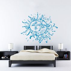 Wall Decal Vinyl Sticker Decals Art Home Decor Design Mural Sun Moon Crescent Dual Ethnic Stars Night Symbol Sunshine Fashion Bedroom