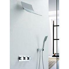 Contemporary Shower Faucet with Rain Shower Head & Hand Shower - FaucetSuperDeal.com