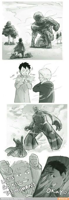 Actually,it's not the truth,that Berthold and Rainer wanted to destroy humanity.Go and read manga!))) Attack on Titan Armin, Levi X Eren, Attack On Titan Meme, Attack On Titan Ships, Ereri, Levihan, Tokyo Ghoul, Manga Anime, Titan Shifter
