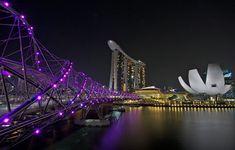 la magnifique ville de nuit Tower Bridge, Opera House, Building, Travel, Bridges, Singapore, Asia, City, Viajes