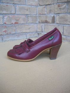 Tendance Chaussures 2017/ 2018 : Vintage BASS Oxblood Leather Fringed Loafer Heels Size 9 Excellent Condition