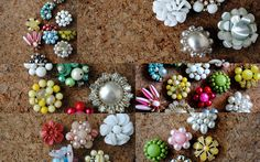 Vintage button push pins:  Turn your grandmothers earrings into push pins. Remove the back and glue a push pin.