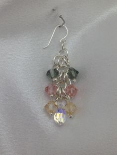 Chainmaille earrings - sterling silver and Swarovski crystals. www.Facebook.com/WireCrossing