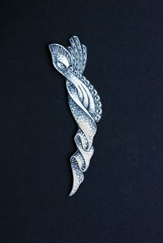 Drawing of a diamond brooch in the form of a stylized ribbon, American, 1930s–1950s.