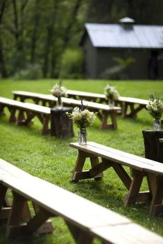 Barn Wedding Ceremony Ideas - benches as a ceremony seating option