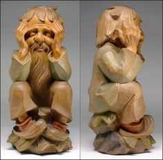 Large, mid-20th century wood carving from the BeJo Studio (aka Bernardi Josef) of the Gardena Valley, Italy.  Really excellent hand carved gnome (elf or troll) character, crafted from an unknown wood....extremely well rendered in 360º by a talented artist, showing the subject sitting on a stump, hands holding head with a worried look on his face. Very expressive and completely charming. Finished in classic washes of color...soft tones that work well with the natural color of the wood. An…