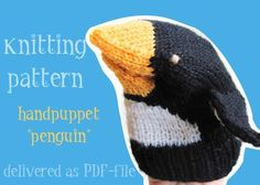 Penguin handpuppet knitting pattern